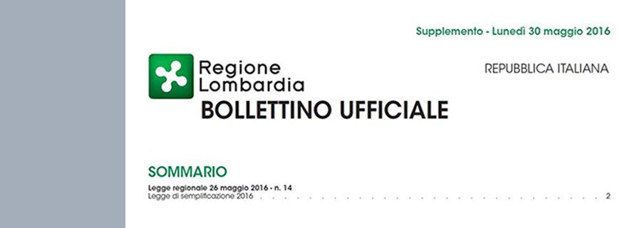 Entra in vigore la Legge Regionale n. 14 del 26/05/2016.